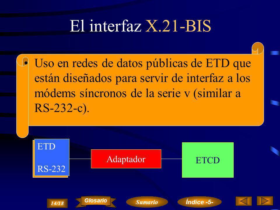 El interfaz X.21 Entre equipos terminales de datos (ETD) y equipos de terminación de circuito de datos (ETCD) para funcionamiento asíncrono en redes de datos públicas.