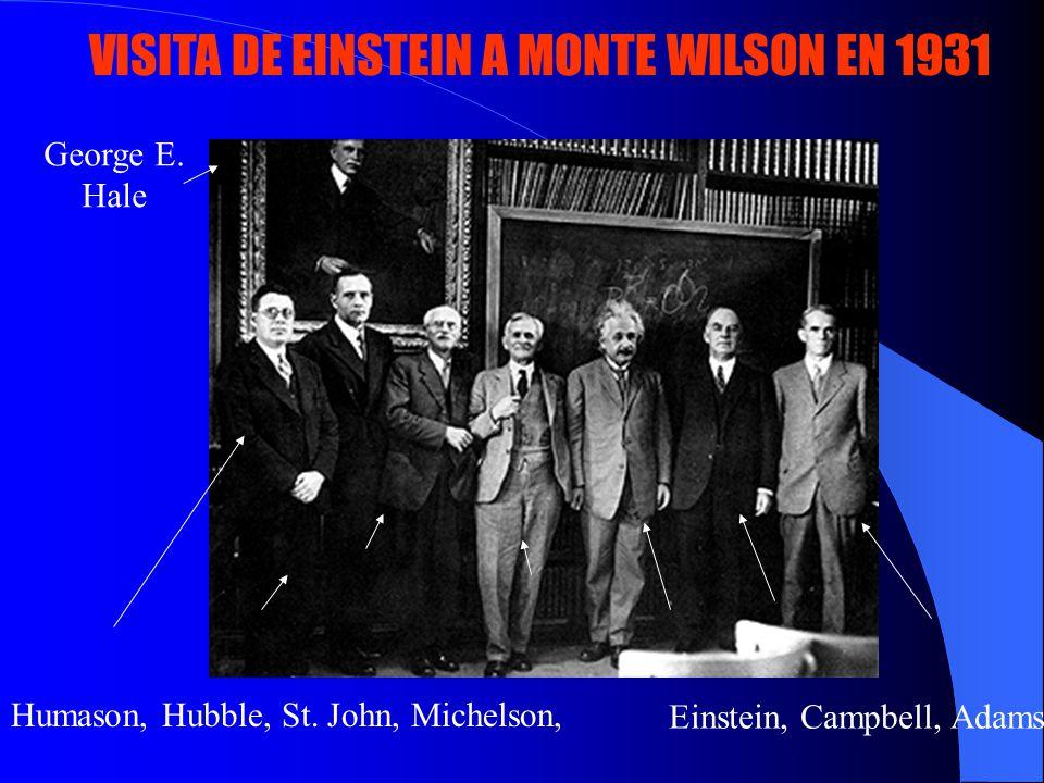VISITA DE EINSTEIN A MONTE WILSON EN 1931 Humason, Hubble, St. John, Michelson, Einstein, Campbell, Adams George E. Hale