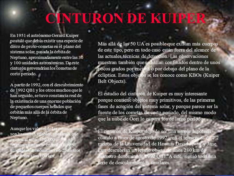 En 1951 el astrónomo Gerard Kuiper postuló que debía existir una especie de disco de proto-cometas en el plano del sistema solar, pasada la órbita de