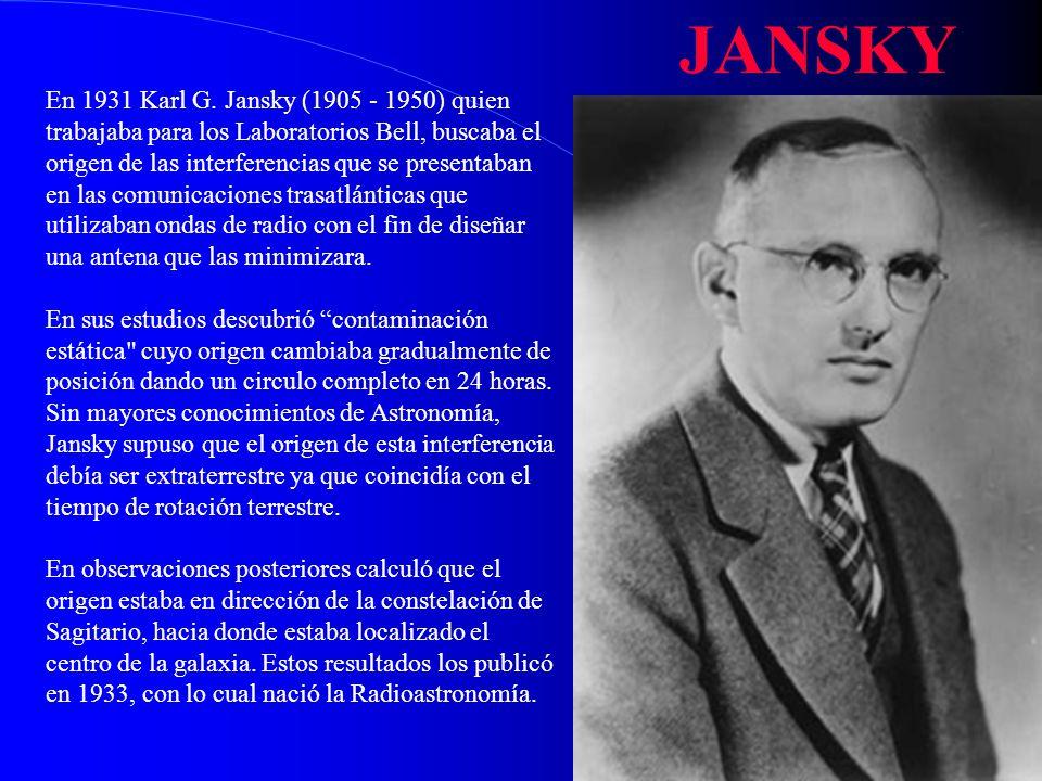 En 1931 Karl G. Jansky (1905 - 1950) quien trabajaba para los Laboratorios Bell, buscaba el origen de las interferencias que se presentaban en las com