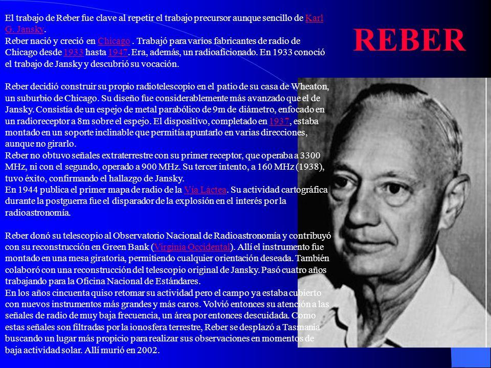 El trabajo de Reber fue clave al repetir el trabajo precursor aunque sencillo de Karl G. Jansky.Karl G. Jansky Reber nació y creció en Chicago. Trabaj