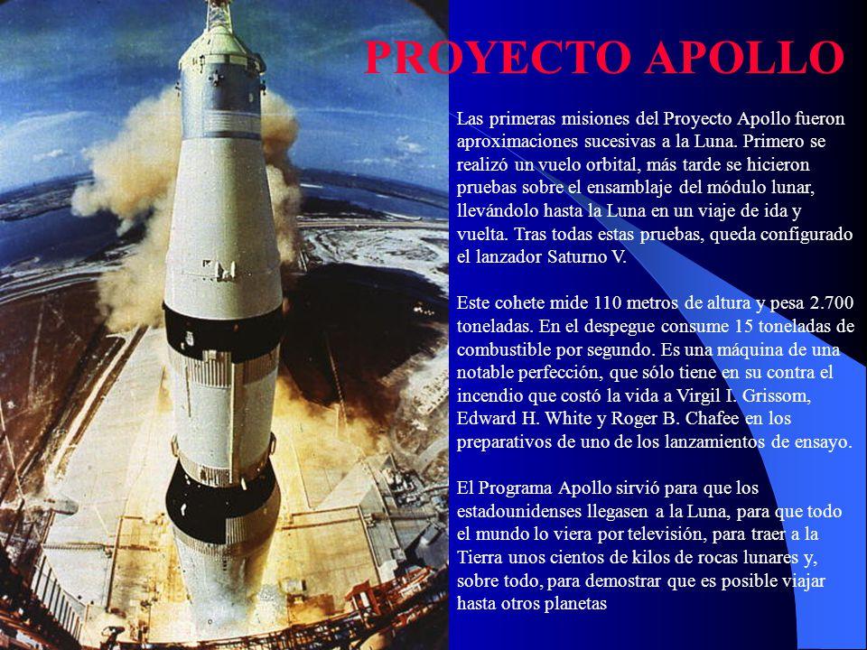 Las primeras misiones del Proyecto Apollo fueron aproximaciones sucesivas a la Luna. Primero se realizó un vuelo orbital, más tarde se hicieron prueba