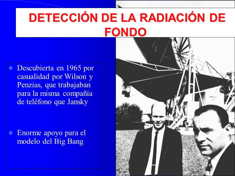 DETECCIÓN DE LA RADIACIÓN DE FONDO DETECCIÓN DE LA RADIACIÓN DE FONDO Descubierta en 1965 por casualidad por Wilson y Penzias, que trabajaban para la