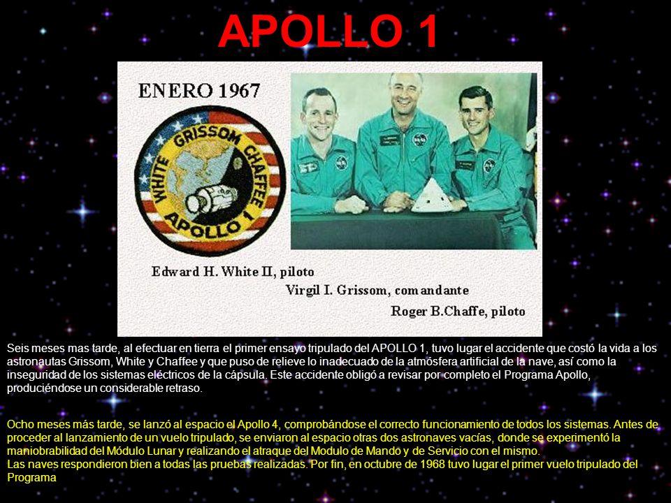APOLLO 1 Seis meses mas tarde, al efectuar en tierra el primer ensayo tripulado del APOLLO 1, tuvo lugar el accidente que costó la vida a los astronau