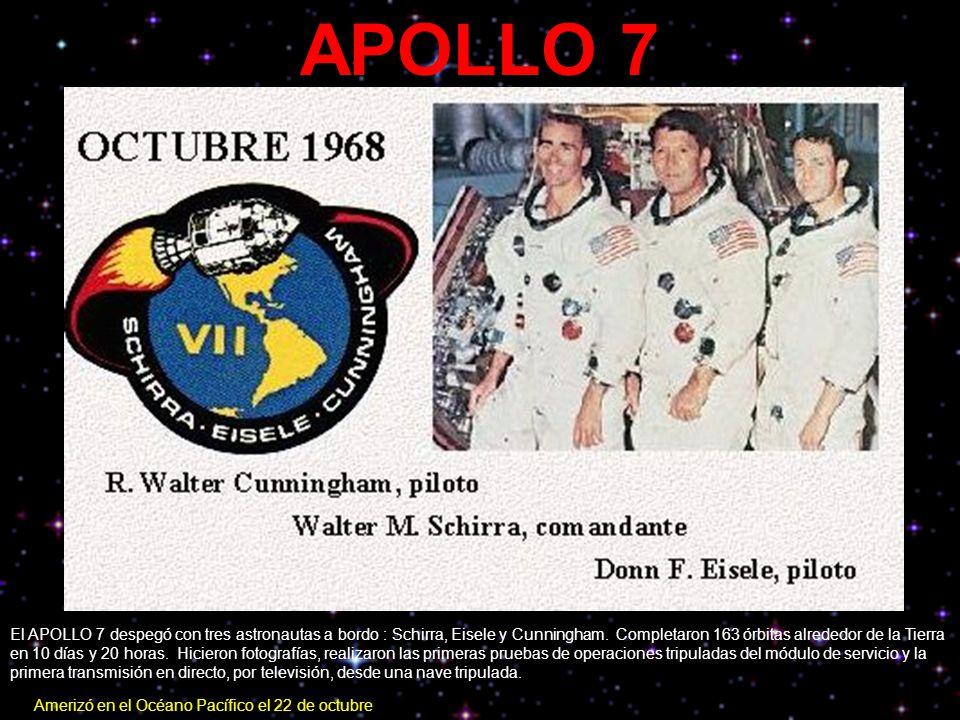 APOLLO 7 El APOLLO 7 despegó con tres astronautas a bordo : Schirra, Eisele y Cunningham. Completaron 163 órbitas alrededor de la Tierra en 10 días y