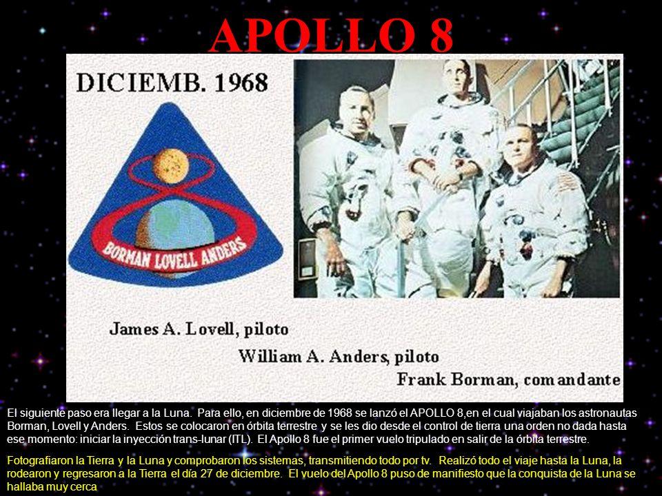 APOLLO 8 El siguiente paso era llegar a la Luna. Para ello, en diciembre de 1968 se lanzó el APOLLO 8,en el cual viajaban los astronautas Borman, Love