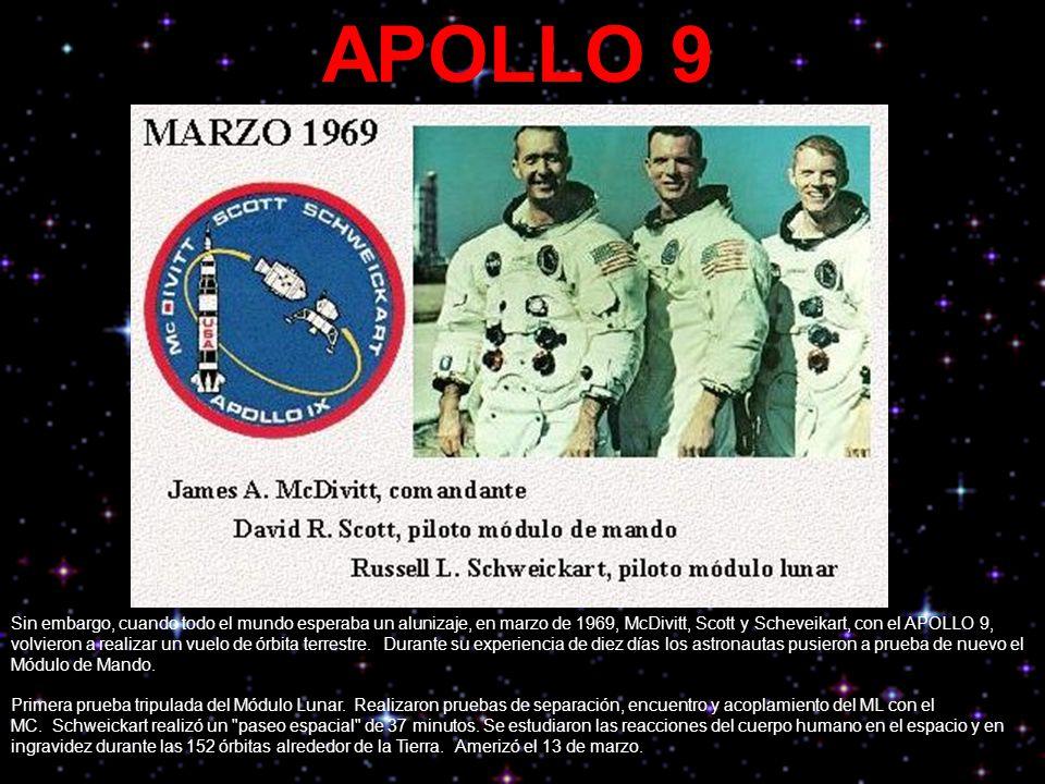 APOLLO 9 Sin embargo, cuando todo el mundo esperaba un alunizaje, en marzo de 1969, McDivitt, Scott y Scheveikart, con el APOLLO 9, volvieron a realiz