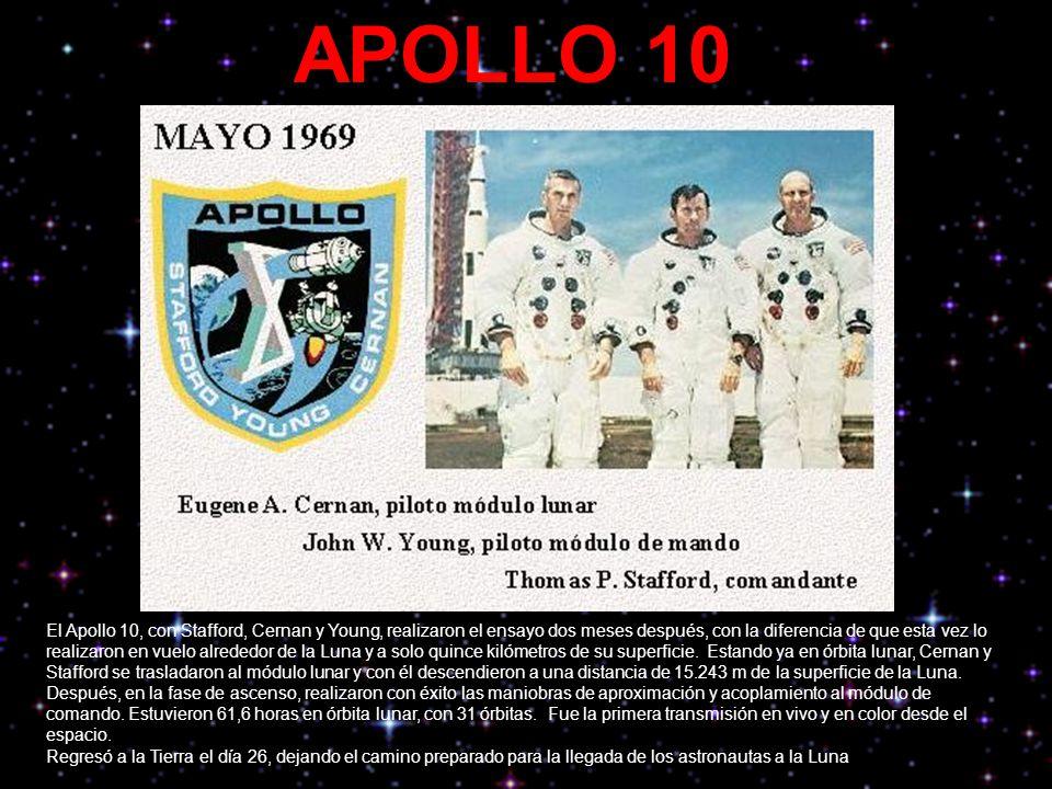 APOLLO 10 El Apollo 10, con Stafford, Cernan y Young, realizaron el ensayo dos meses después, con la diferencia de que esta vez lo realizaron en vuelo