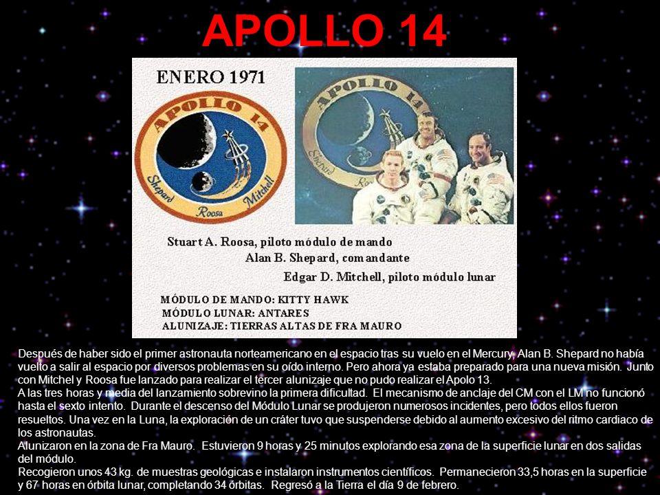 APOLLO 14 Después de haber sido el primer astronauta norteamericano en el espacio tras su vuelo en el Mercury, Alan B. Shepard no había vuelto a salir