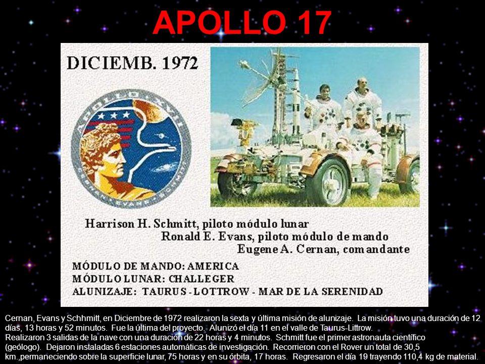 APOLLO 17 Cernan, Evans y Schhmitt, en Diciembre de 1972 realizaron la sexta y última misión de alunizaje. La misión tuvo una duración de 12 días, 13