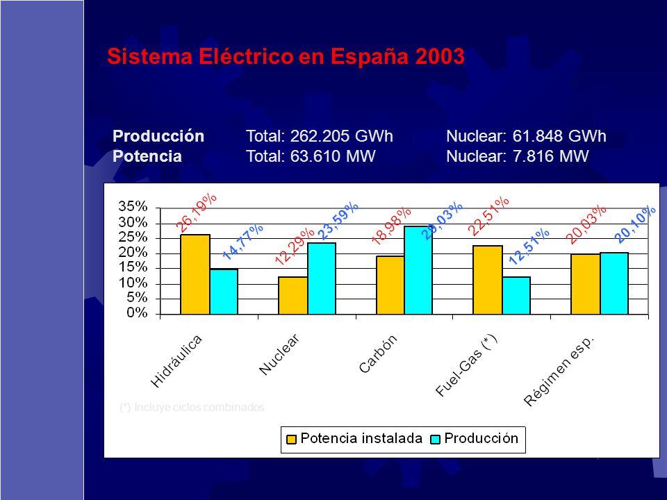 Sistema Eléctrico en España 2003 ProducciónTotal: 262.205 GWhNuclear: 61.848 GWh PotenciaTotal: 63.610 MWNuclear: 7.816 MW (*) Incluye ciclos combinad