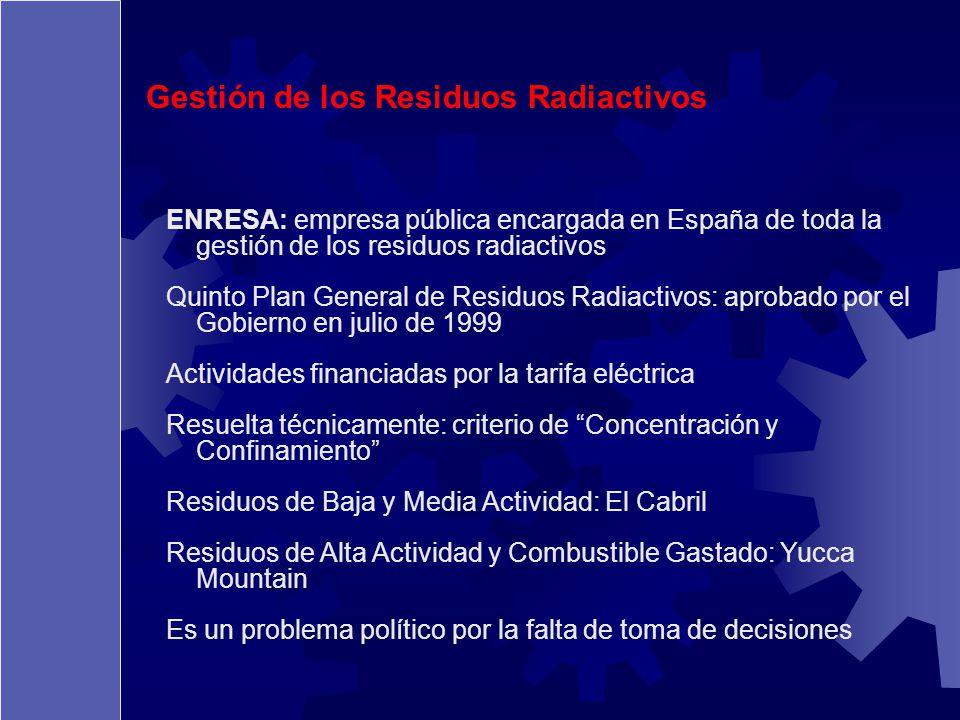 Gestión de los Residuos Radiactivos ENRESA: empresa pública encargada en España de toda la gestión de los residuos radiactivos Quinto Plan General de