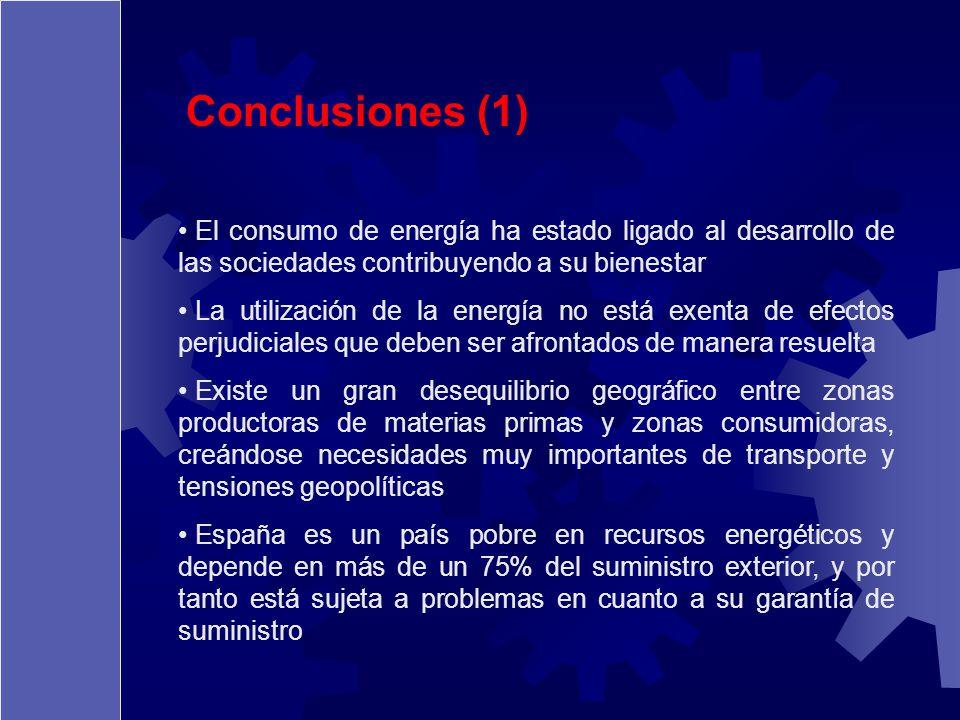 Conclusiones (1) El consumo de energía ha estado ligado al desarrollo de las sociedades contribuyendo a su bienestar La utilización de la energía no e