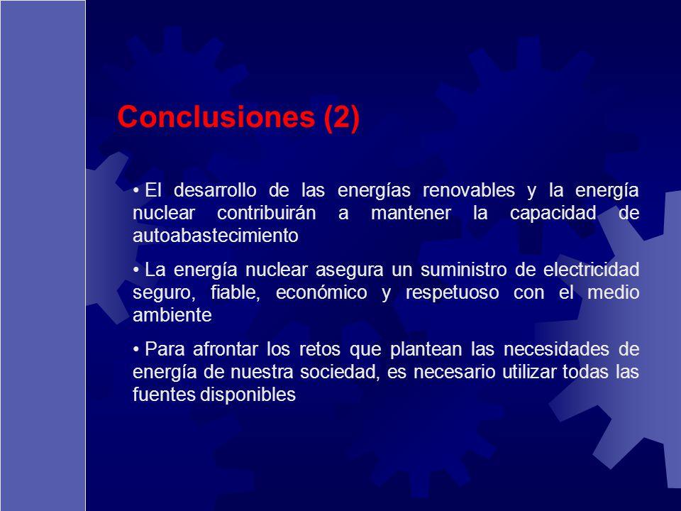 Conclusiones (2) El desarrollo de las energías renovables y la energía nuclear contribuirán a mantener la capacidad de autoabastecimiento La energía n