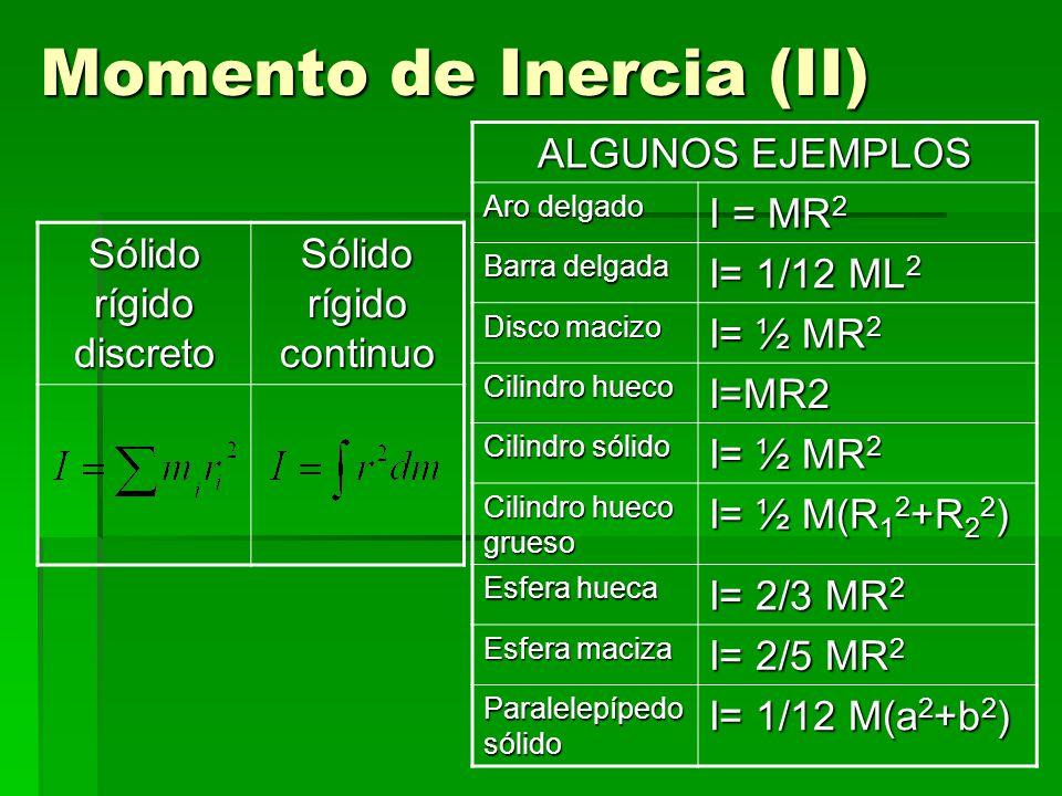 Momento de Inercia (II) Sólido rígido discreto Sólido rígido continuo ALGUNOS EJEMPLOS Aro delgado I = MR 2 Barra delgada I= 1/12 ML 2 Disco macizo I= ½ MR 2 Cilindro hueco I=MR2 Cilindro sólido I= ½ MR 2 Cilindro hueco grueso I= ½ M(R 1 2 +R 2 2 ) Esfera hueca I= 2/3 MR 2 Esfera maciza I= 2/5 MR 2 Paralelepípedo sólido I= 1/12 M(a 2 +b 2 )