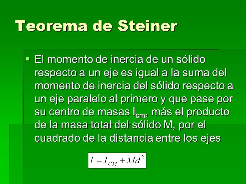 Teorema de Steiner El momento de inercia de un sólido respecto a un eje es igual a la suma del momento de inercia del sólido respecto a un eje paralelo al primero y que pase por su centro de masas Icm, más el producto de la masa total del sólido M, por el cuadrado de la distancia entre los ejes