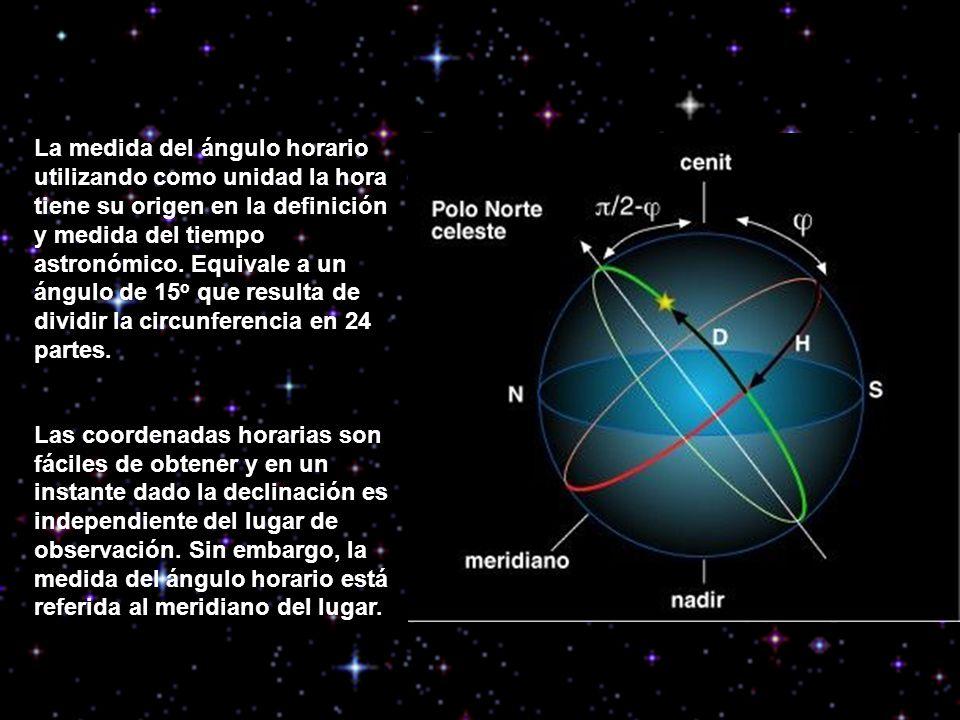 La medida del ángulo horario utilizando como unidad la hora tiene su origen en la definición y medida del tiempo astronómico. Equivale a un ángulo de