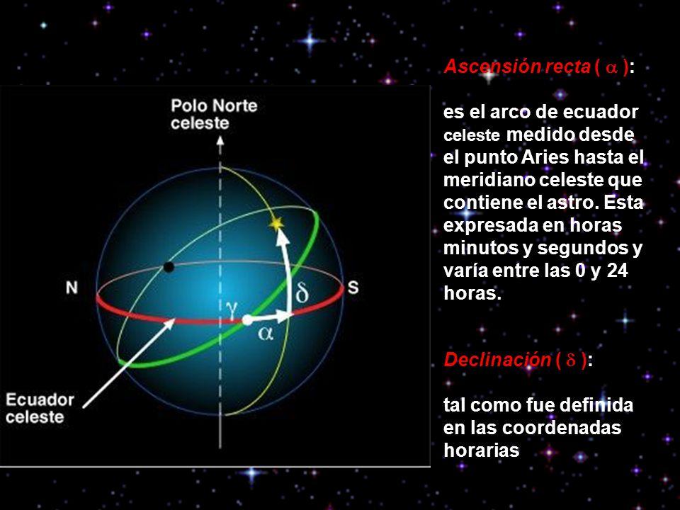 Ascensión recta ( ): es el arco de ecuador celeste medido desde el punto Aries hasta el meridiano celeste que contiene el astro. Esta expresada en hor