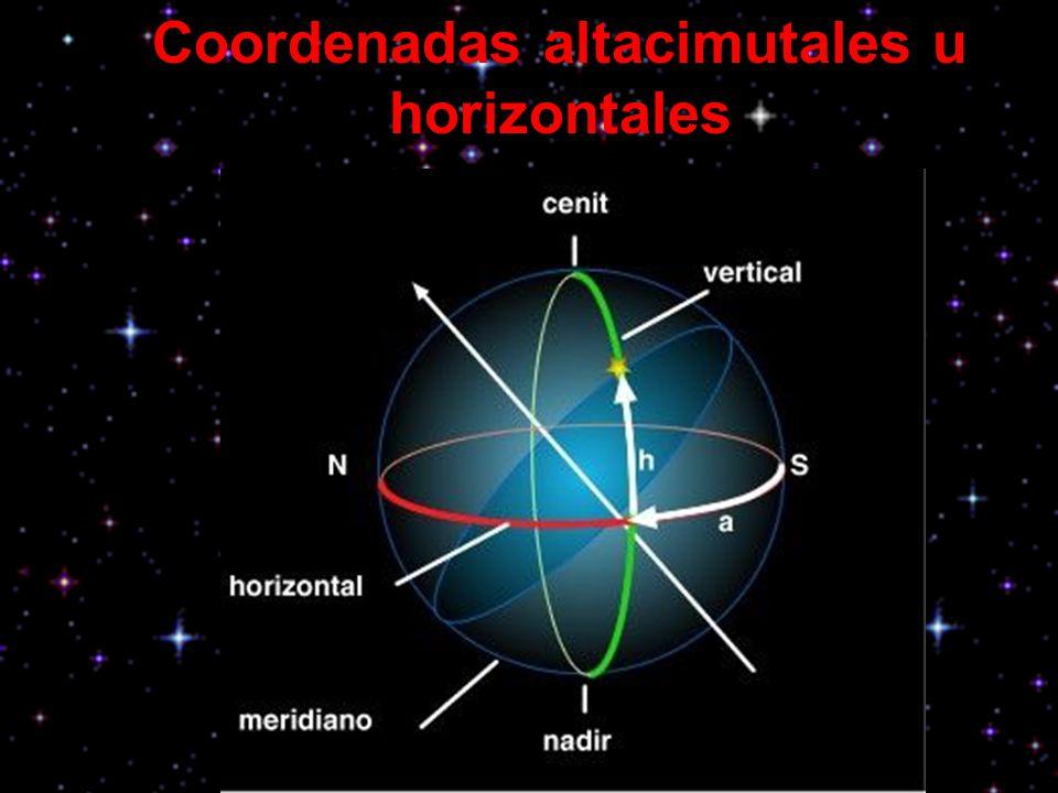 Coordenadas altacimutales u horizontales Es el sistema más natural e inmediato para un observador y utiliza como referencias el círculo vertical y el horizonte.