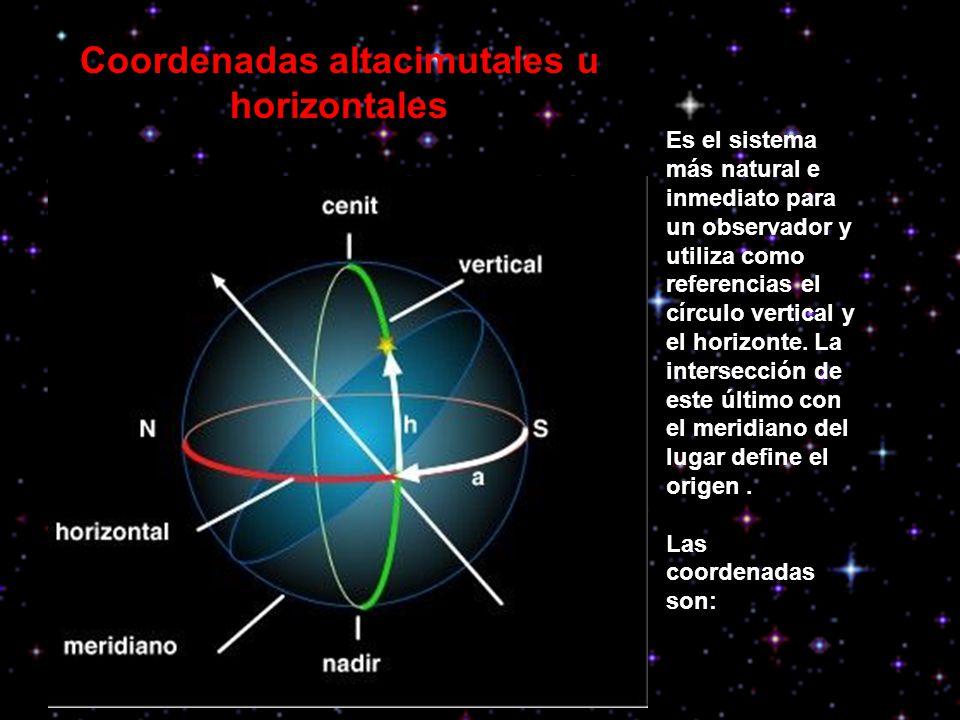 Coordenadas altacimutales u horizontales Es el sistema más natural e inmediato para un observador y utiliza como referencias el círculo vertical y el