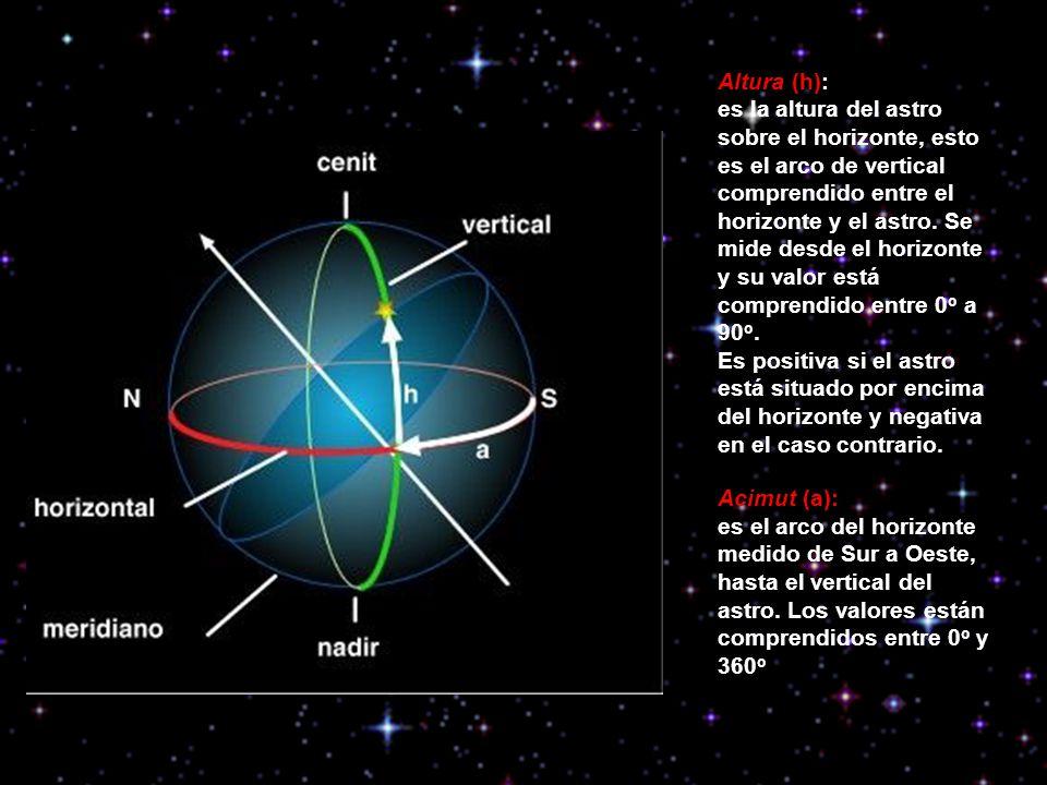 Altura (h): es la altura del astro sobre el horizonte, esto es el arco de vertical comprendido entre el horizonte y el astro. Se mide desde el horizon