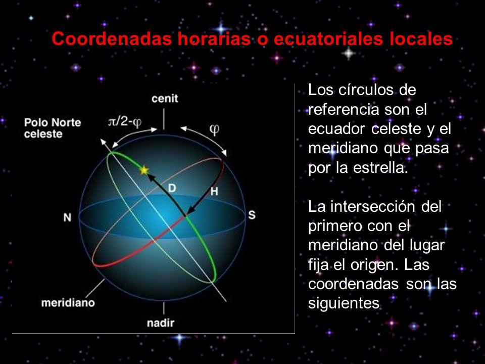 Angulo horario ( H ): es el arco de ecuador celeste comprendido entre los puntos definidos por sus intersecciones con los meridianos del lugar, que es el origen de la medida, y el que pasa por la estrella.