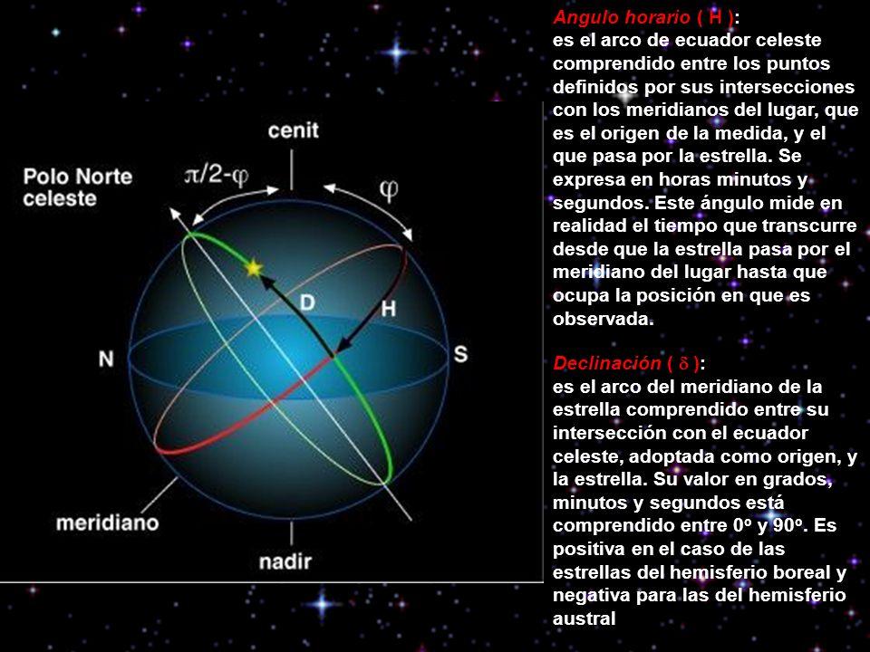 Angulo horario ( H ): es el arco de ecuador celeste comprendido entre los puntos definidos por sus intersecciones con los meridianos del lugar, que es