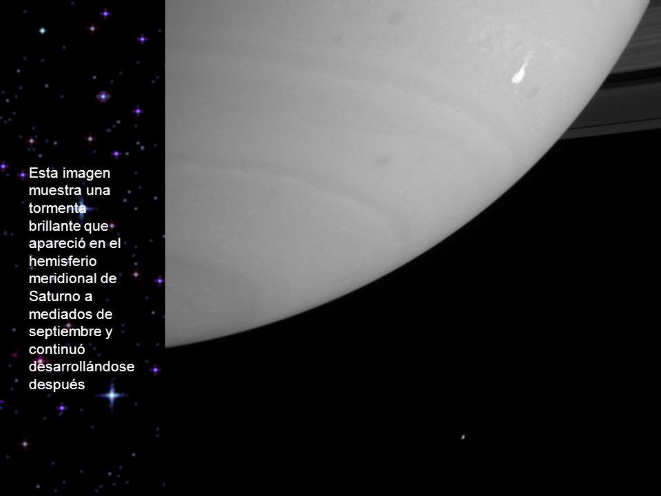 Esta imagen muestra una tormenta brillante que apareció en el hemisferio meridional de Saturno a mediados de septiembre y continuó desarrollándose después