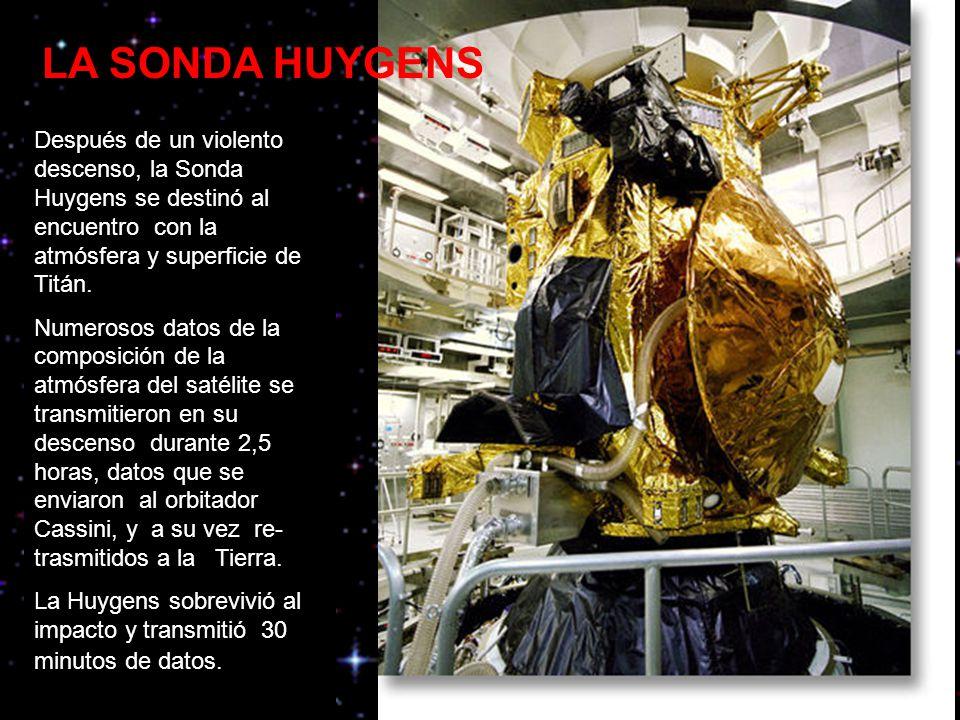 LA SONDA HUYGENS Después de un violento descenso, la Sonda Huygens se destinó al encuentro con la atmósfera y superficie de Titán.