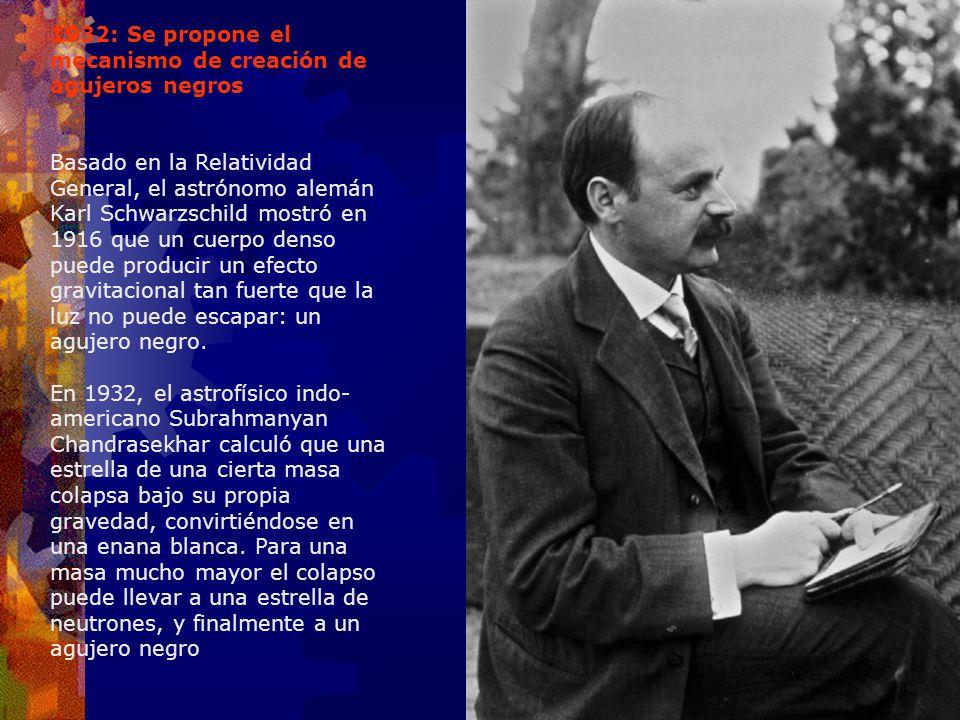 1932: Se propone el mecanismo de creación de agujeros negros Basado en la Relatividad General, el astrónomo alemán Karl Schwarzschild mostró en 1916 q