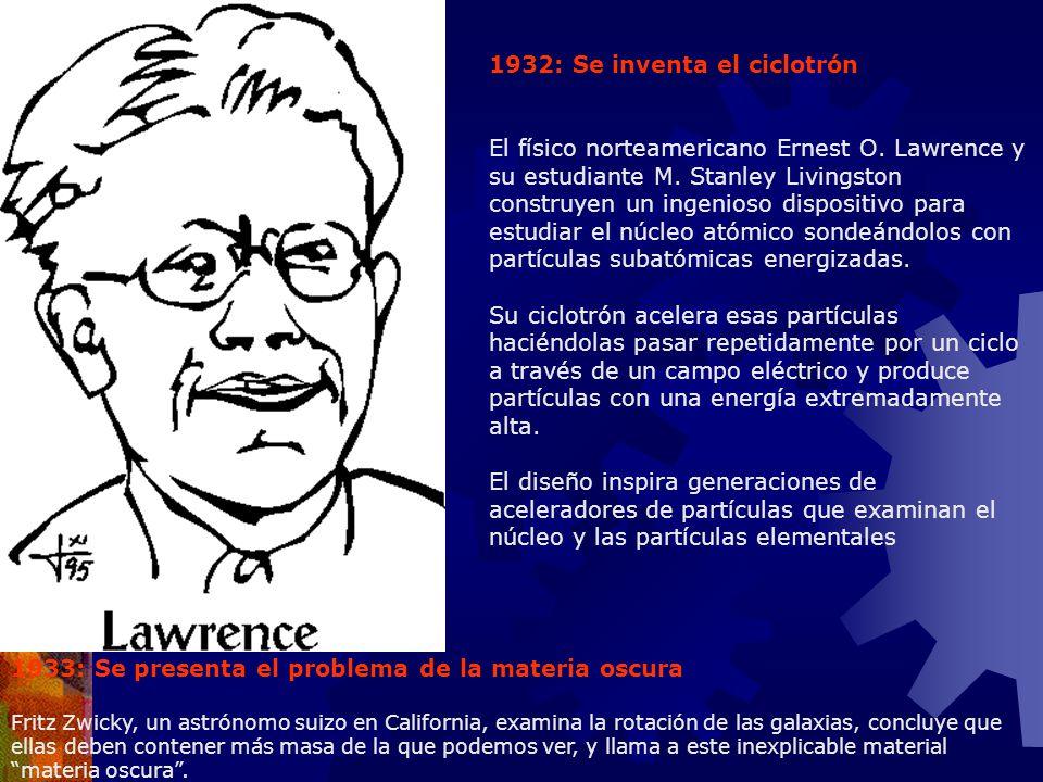 1932: Se inventa el ciclotrón El físico norteamericano Ernest O. Lawrence y su estudiante M. Stanley Livingston construyen un ingenioso dispositivo pa