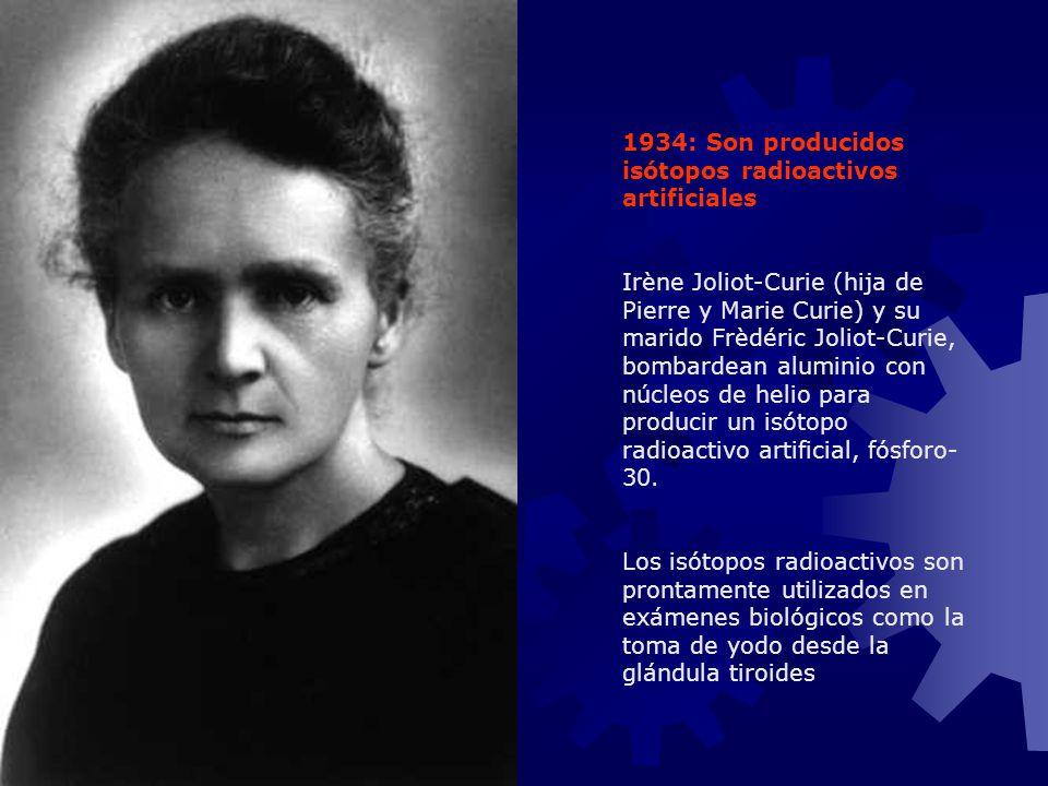1934: Son producidos isótopos radioactivos artificiales Irène Joliot-Curie (hija de Pierre y Marie Curie) y su marido Frèdéric Joliot-Curie, bombardea