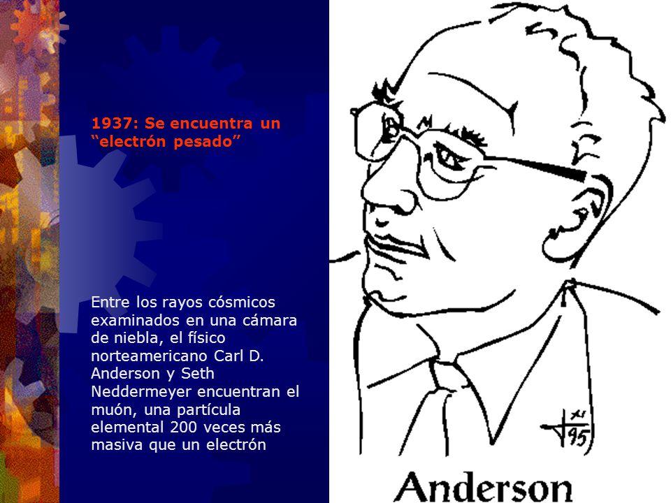 1937: Se encuentra un electrón pesado Entre los rayos cósmicos examinados en una cámara de niebla, el físico norteamericano Carl D. Anderson y Seth Ne
