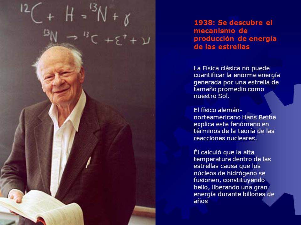 1938: Se descubre el mecanismo de producción de energía de las estrellas La Física clásica no puede cuantificar la enorme energía generada por una est
