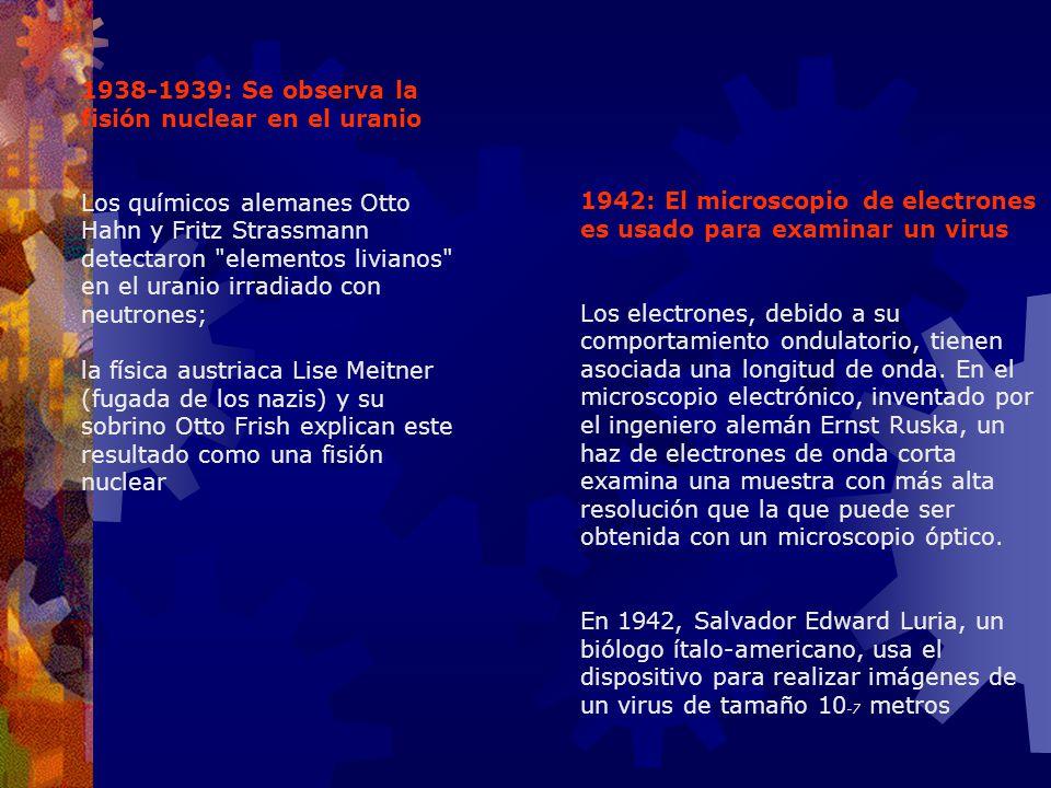 1938-1939: Se observa la fisión nuclear en el uranio Los químicos alemanes Otto Hahn y Fritz Strassmann detectaron