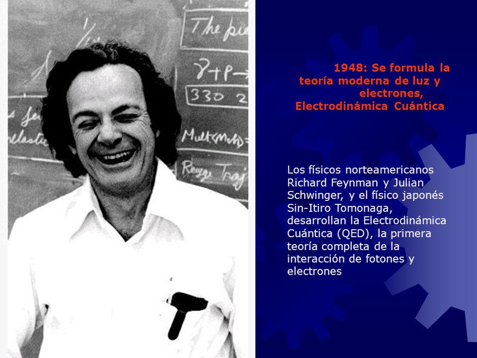 1948: Se formula la teoría moderna de luz y electrones, Electrodinámica Cuántica Los físicos norteamericanos Richard Feynman y Julian Schwinger, y el