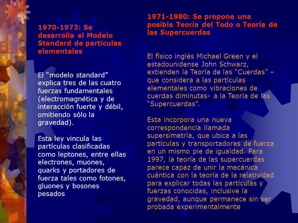 1970-1973: Se desarrolla el Modelo Standard de partículas elementales El modelo standard explica tres de las cuatro fuerzas fundamentales (electromagn