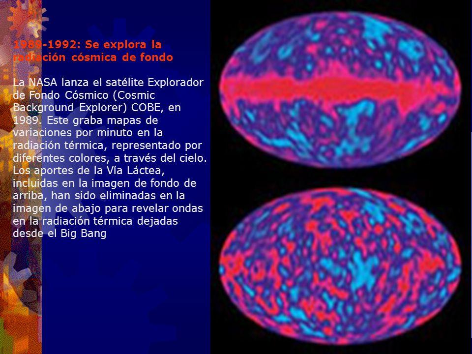 1989-1992: Se explora la radiación cósmica de fondo La NASA lanza el satélite Explorador de Fondo Cósmico (Cosmic Background Explorer) COBE, en 1989.