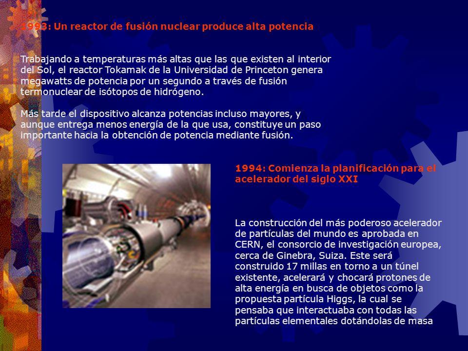 1993: Un reactor de fusión nuclear produce alta potencia Trabajando a temperaturas más altas que las que existen al interior del Sol, el reactor Tokam