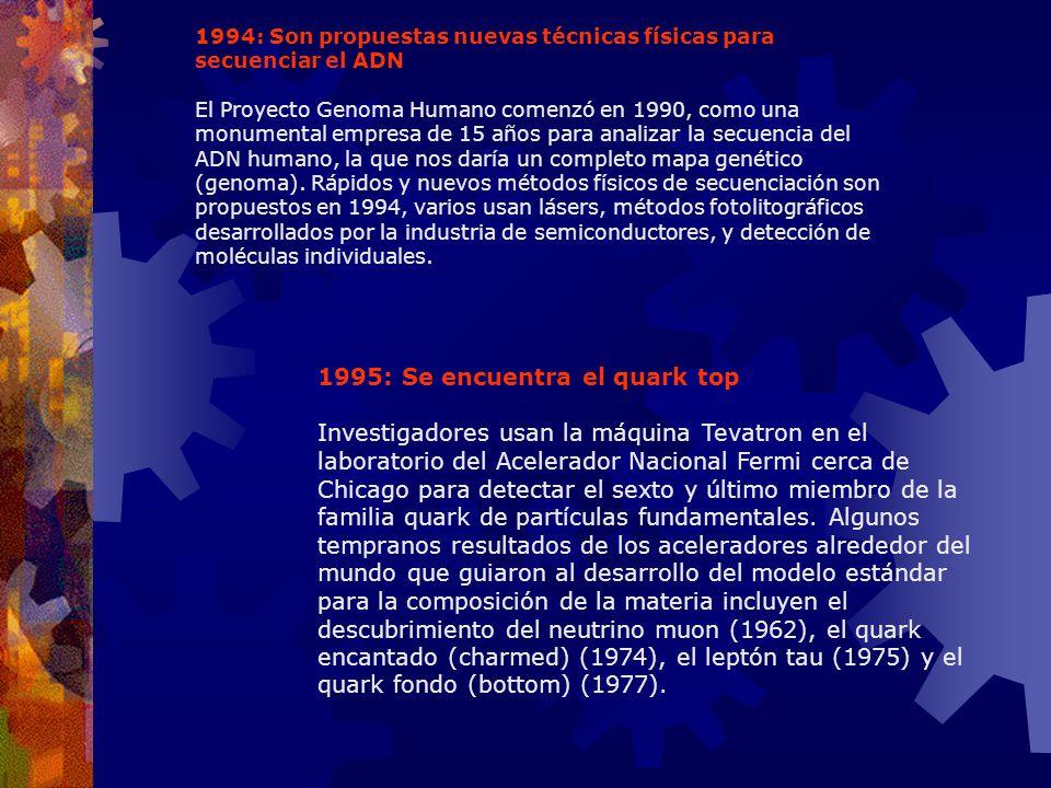 1994: Son propuestas nuevas técnicas físicas para secuenciar el ADN El Proyecto Genoma Humano comenzó en 1990, como una monumental empresa de 15 años