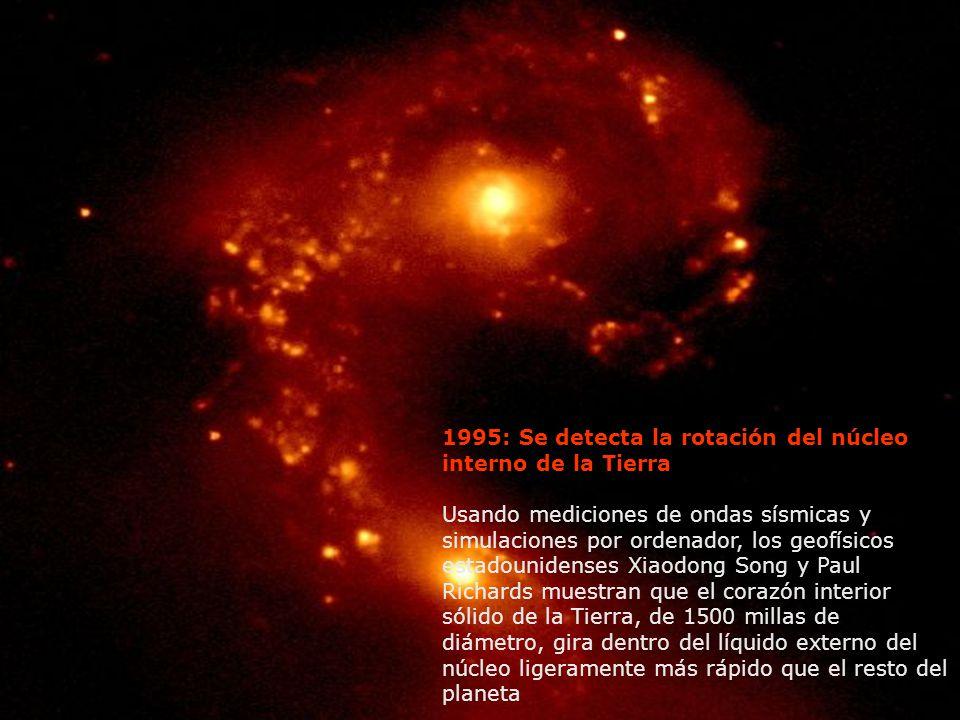 1995: Se detecta la rotación del núcleo interno de la Tierra Usando mediciones de ondas sísmicas y simulaciones por ordenador, los geofísicos estadoun