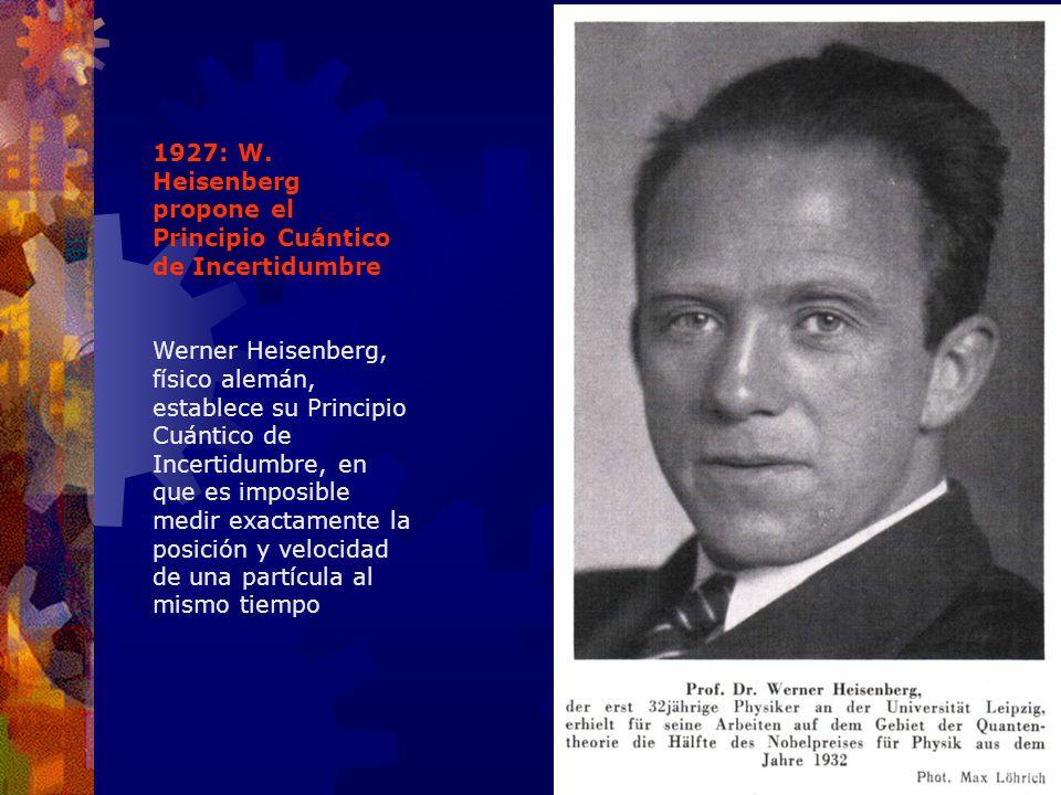1927: W. Heisenberg propone el Principio Cuántico de Incertidumbre Werner Heisenberg, físico alemán, establece su Principio Cuántico de Incertidumbre,