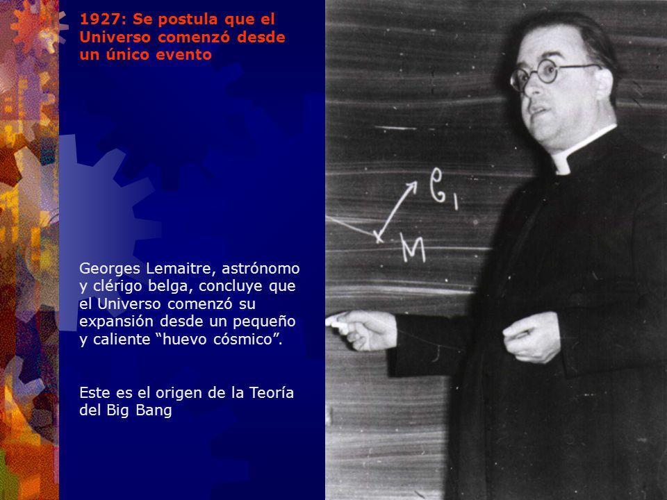 1927: Se postula que el Universo comenzó desde un único evento Georges Lemaitre, astrónomo y clérigo belga, concluye que el Universo comenzó su expans