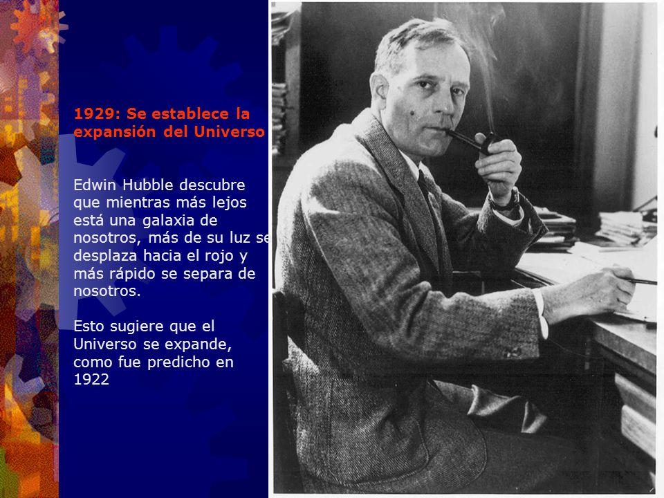 1929: Se establece la expansión del Universo Edwin Hubble descubre que mientras más lejos está una galaxia de nosotros, más de su luz se desplaza haci