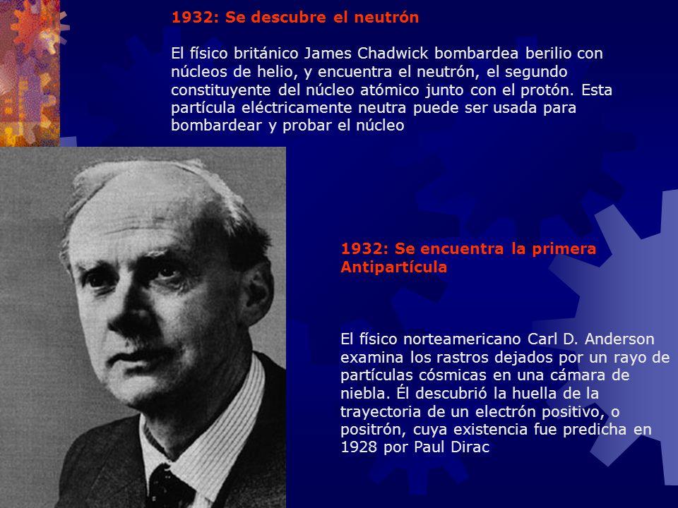 1932: Se descubre el neutrón El físico británico James Chadwick bombardea berilio con núcleos de helio, y encuentra el neutrón, el segundo constituyen