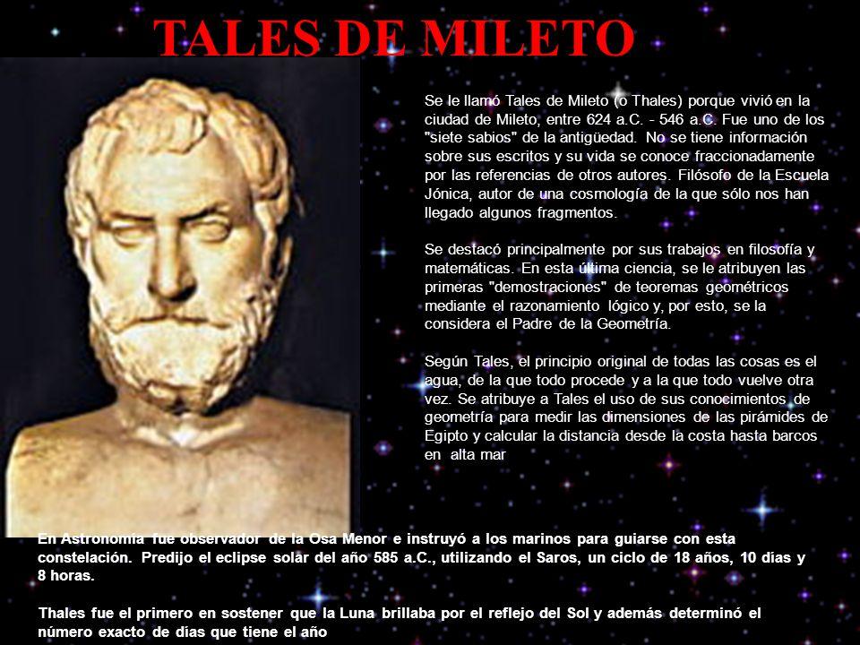 TALES DE MILETO Se le llamó Tales de Mileto (o Thales) porque vivió en la ciudad de Mileto, entre 624 a.C.