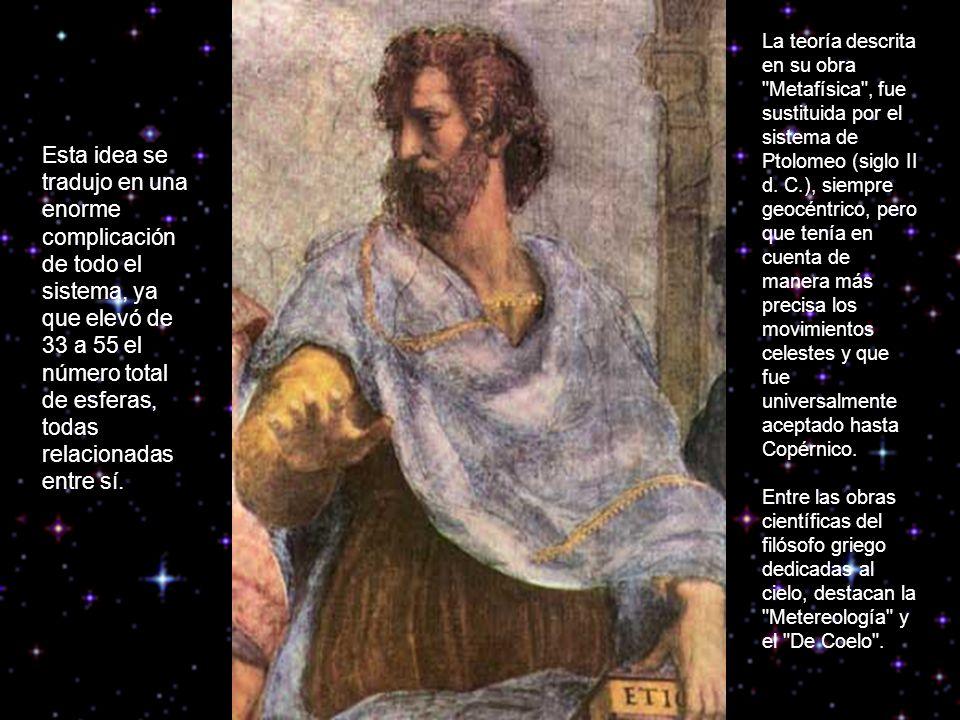 La teoría descrita en su obra Metafísica , fue sustituida por el sistema de Ptolomeo (siglo II d.