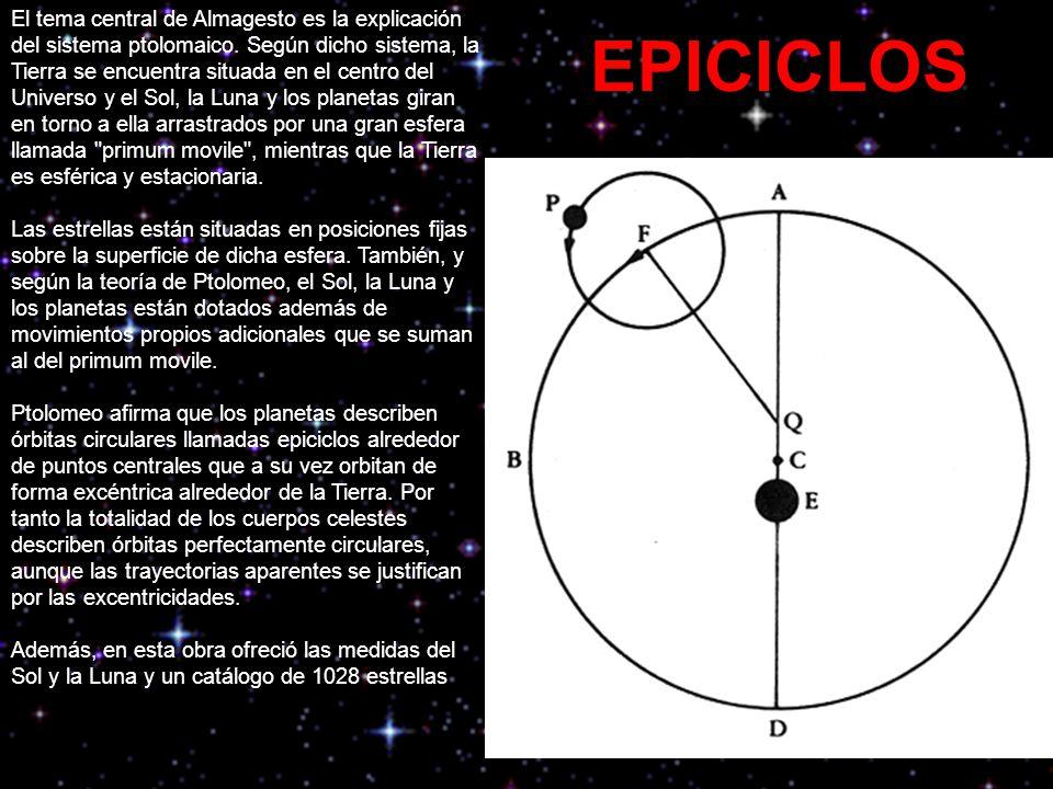 El tema central de Almagesto es la explicación del sistema ptolomaico.