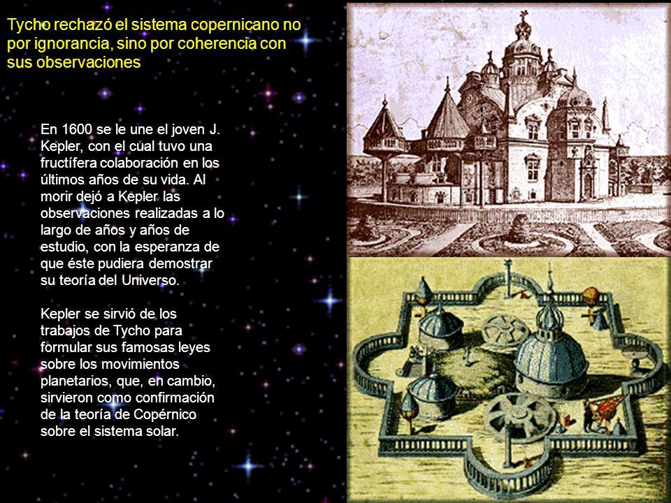 Tycho rechazó el sistema copernicano no por ignorancia, sino por coherencia con sus observaciones En 1600 se le une el joven J.
