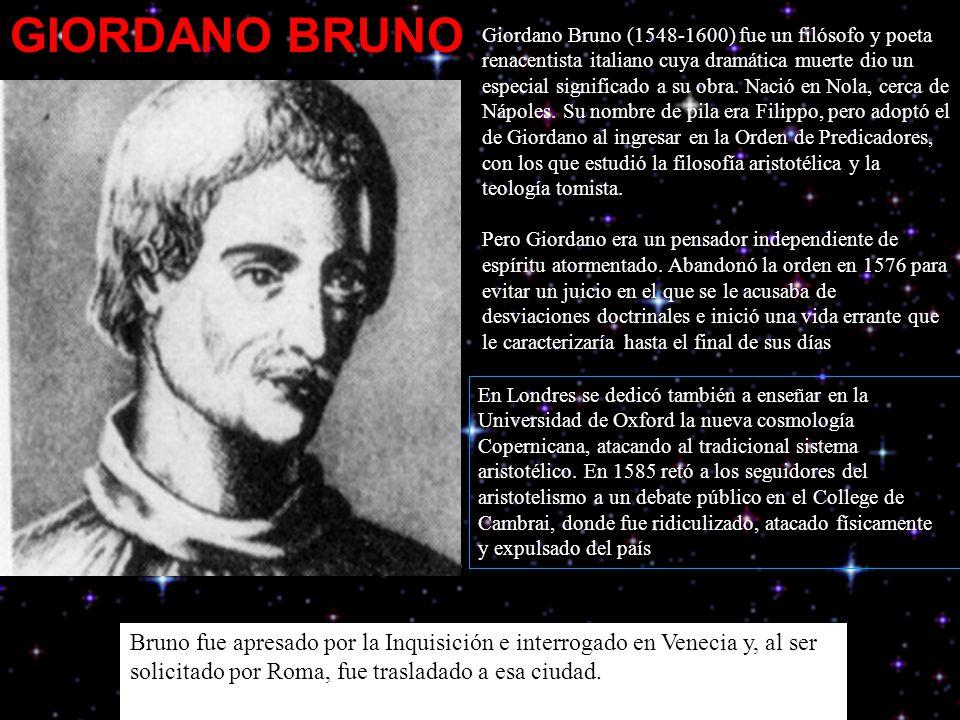 Giordano Bruno (1548-1600) fue un filósofo y poeta renacentista italiano cuya dramática muerte dio un especial significado a su obra.